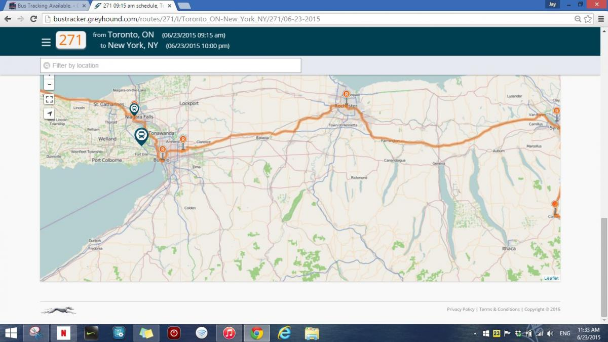 Bus Tracking Available  - Greyhound and Affiliates