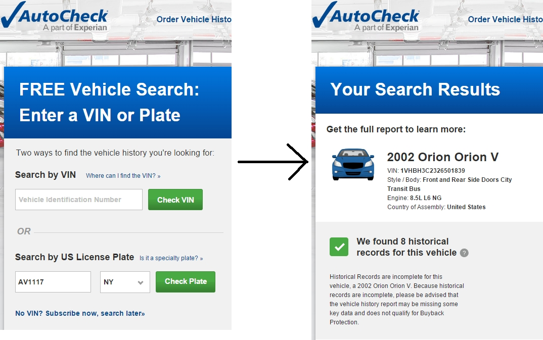 Using AutoCheck to find VINs by entering a license plate