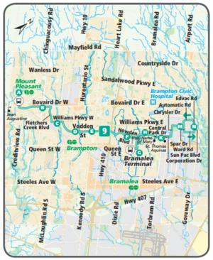 Brampton Transit route 9 Vodden CPTDB Wiki