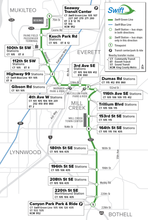 Community Transit Swift Green Line Map.png