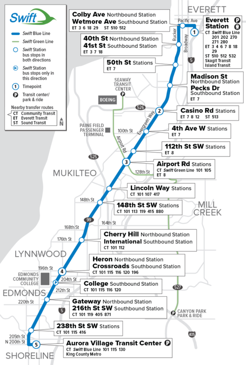 Community Transit Swift Blue Line Map.png