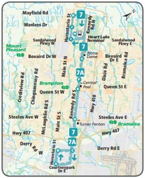 Brampton Transit route 7 Kennedy CPTDB Wiki